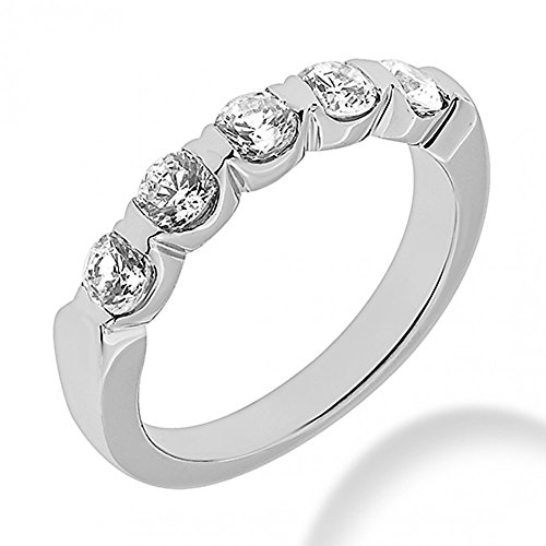 1.30 ct. Five Stone Round Cut Diamond Wedding Band in Bar Mounting in Platinum In Size 16 ()