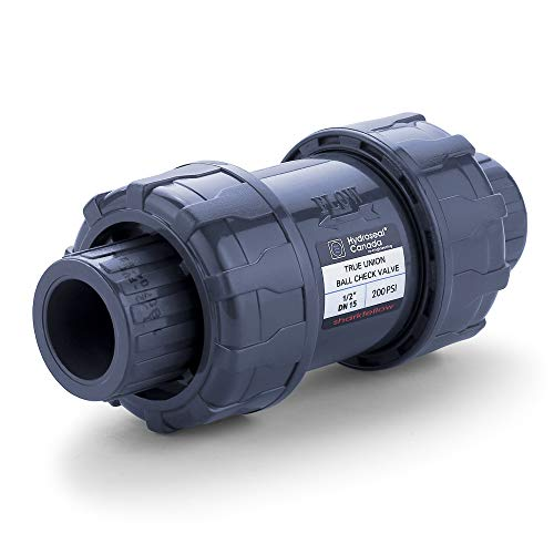 HYDROSEAL Sharkfellow 1/2'' PVC True Union Ball Check Valve with Full Port, ASTM F1970, with EPDM Seals, Corrosion-Free, Service Free, Rated at 200 PSI @73F, Gray, 1/2 inch Socket (1/2'') 1/2' Full Port Ball Valve