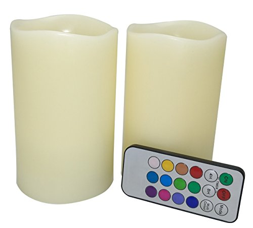 Ivory Vanilla Scented Real wax led lights with Timer-Auto 24-Hour Cycle Timer, Remote control Set of 2, Tall 5 inch (Candle Scented Round Vanilla Pillar)