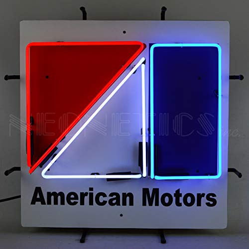 Neon Sign with Backing, Red, White and Blue Hand Blown Real Glass Tubes, Measures 24 Inches Wide by 24 Inches Tall – 5AMCBK ()