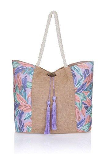 à femmes Femmes Sac Sac Plage fourre main à plumes bandoulière violet pour large tout toile sac ww7pqr1