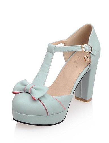 GGX/Damen Schuhe PU Sommer-/, Round Toe Heels Büro & Karriere/Casual Chunky Heel Schnallen Blau/Pink/Weiß/Beige blue-us7.5 / eu38 / uk5.5 / cn38
