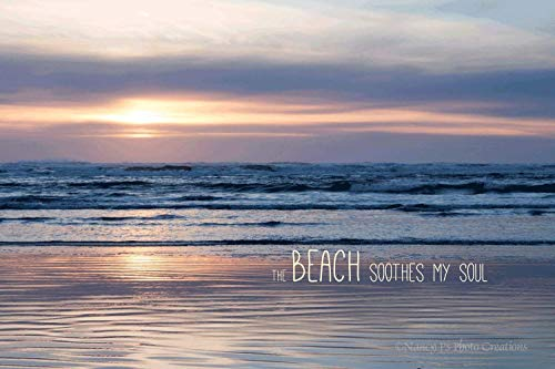Soothing Beach Sunset Photography Available with or without Typography Pastel Ocean Wall Art Relaxing Home Decor Unframed Minimalist Photographic Print 5x7 8x10 8x12 11x14 12x18 16x20 16x24 20x30