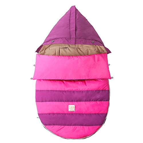 7AM Enfant Bee Pod Baby Bunting Bag for Strollers and Car-Seats with Removable Back Panel, Grape/Neon Pink, Medium/Large