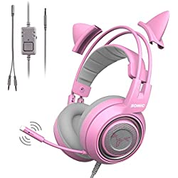 SOMIC G951s Pink Gaming Headset with Mic for PS4, Xbox One, PC, Mobile Phone, 3.5MM Sound Detachable Cat Ear Headphones Lightweight Self-Adjusting Over Ear Headphones for Women