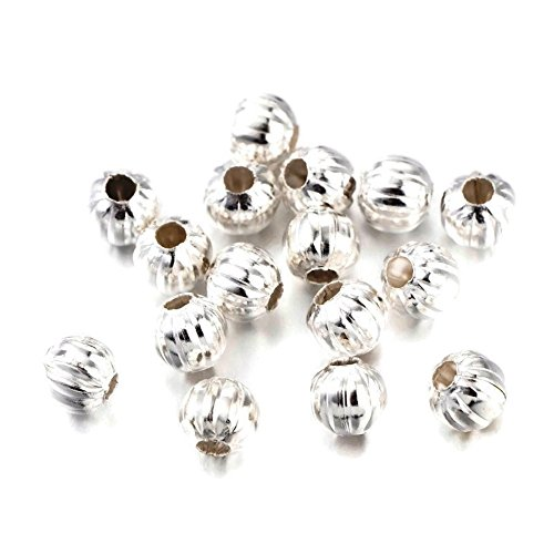 Silver Color Fluted Corrugated Round Metal Beads 5mm (100 (Plated Corrugated Round Beads)