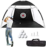 Golf Practice Hitting Nets with Mat for Backyard Indoor Outdoor, 10 x 7 Feet Golf Cutting Net with Target Driv