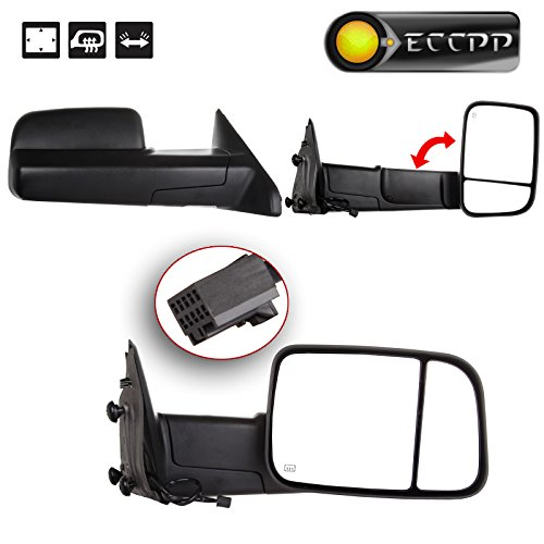 (ECCPP Towing Mirrors Replacement fit for 2009-15 Ram 1500 Pickup Side View Power Heated Towing Manual Flip Up Black Mirrors)