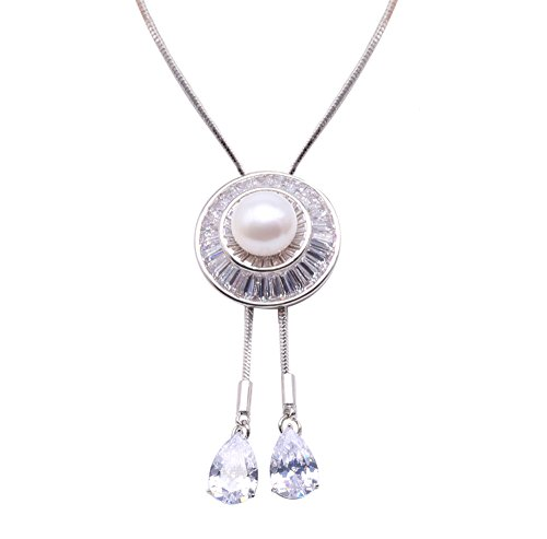 JYX Pearl 10mm White Frehwater Cultured Pearl Pendant Necklace 35