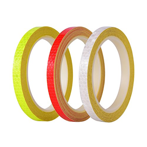 BBTO Reflective Tape 3 Rolls 3 Colors Micro Prismatic Sheeting Safety Reflective Tape, 26 Yards in Total
