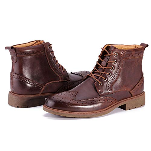 Casual Lavoro Top Scarpe A Desert Rotonda Punta Outdoor High Anti Army Boot Lace Slip Marrone Up Sicurezza Pattuglia Autunno Nero Pelle Inverno Vera WKNBEU Brogue Martin Uomo Uomo Stivali pqgzTZ