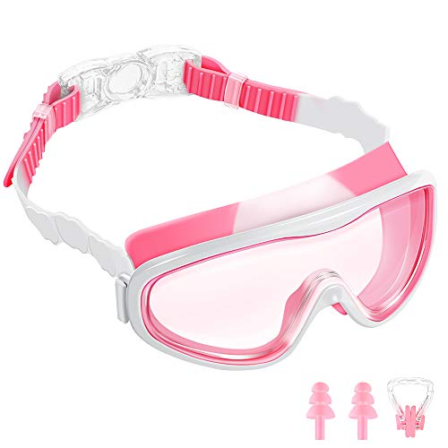 (AEOSBIK Kids Swim Goggles, Wide Vision UV Protection Anti-Fog Swimming Goggles for Children Ages 3-15, Triathlon Equipment Swim Mask Glasses (Pink/White))