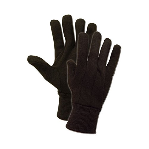 Magid Glove & Safety T91-AMZN JerseyMaster T91 7 oz. Jersey Gloves with Knit Wrist Cuff, Ramie Blend, Mens (Fits Large), Brown (Pack of 12)