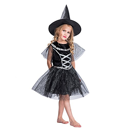 EraSpooky Child's Sparkling Sequins Bubble Gauzy Witch Costume for Girls with Dress and Hat -