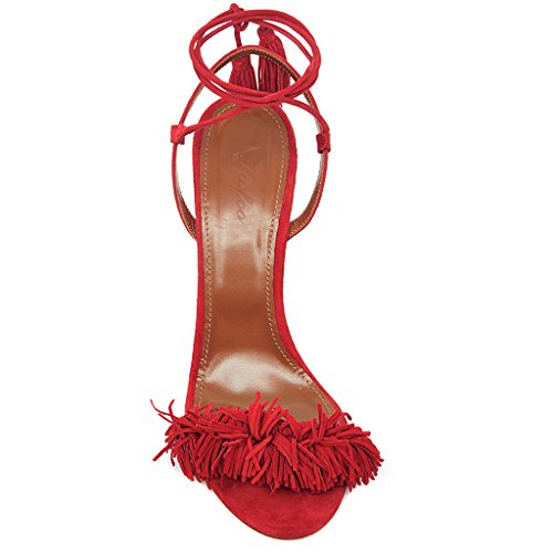 SHOFOO Women - Ankle-Strap - Suede Leather - Fringes - Many colors - Stiletto - Open round toe Red znlz16O