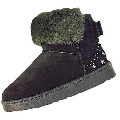 RTRY Zapatos De Mujer Invierno Polar Botas Botas De Combate Talón Plano Ronda Toe Para Sonrojarse Exterior Rosa Verde Gris Negro US6.5-7 / EU37 / UK4.5-5 / CN37