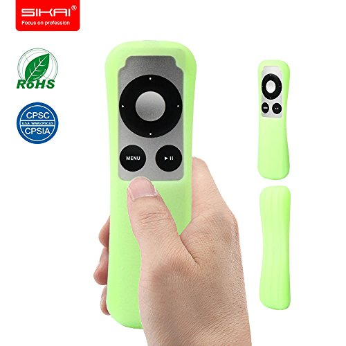 Price comparison product image SIKAI Patent New Apple TV 3Gen Remote case Non-Slip-Grip & Secure for Apple TV 3Gen Remote Ergonomic design Dustproof Silicone case for Apple TV remote control case FBA (Luminous Green)