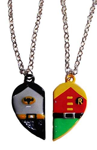 BATMAN & ROBIN Set of 2 BFF Best Friends Half-Heart (Costumes For Two Best Friends)