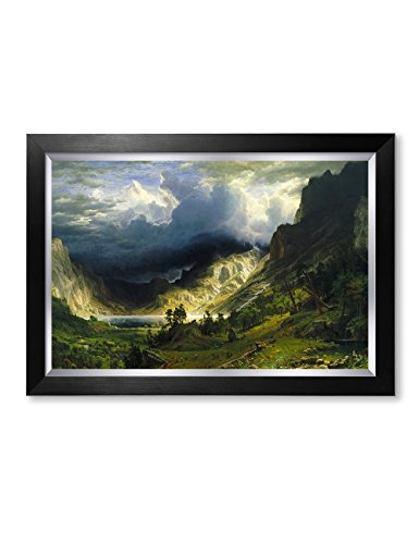 DECORARTS- A Storm in The Rocky Mountains by Albert Bierstadt Classic Art. Giclee Print Framed Art Framed Size: 28x20 Bierstadt The Rocky Mountains
