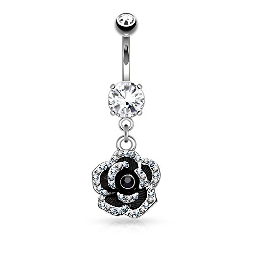 Amelia Fashion 14 Gauge Black Flower Paved CZ Petal Dangle Navel Ring 316L Surgical Steel (Steel & Black) ()