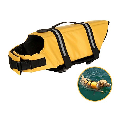 Go Pet Life Jacket | The Ultimate Life Vest for Body Protection | Super Comfortable Top Grab Handle | Extremely Durable Thick Lightweight Oxford Polyester | Yellow with Reflective Stripes | L XL Size