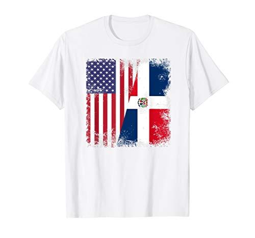 Half Dominican Flag T-Shirt   Vintage USA Gift