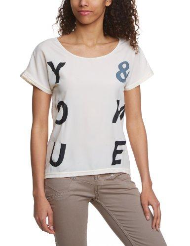 Vero Moda - Camiseta con cuello redondo de manga corta para mujer Blanco (White Swan)/Pattern Black Letters