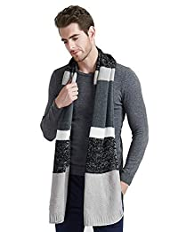 EINSKEY Mens Winter Wool Scarf Unisex Cable Knit Cashmere Feel Long Scarf