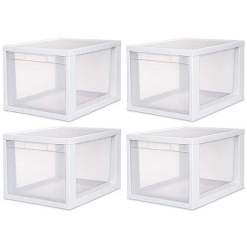 Sterilite 23658004 Medium Tall Modular Drawer, White Frame with Clear Drawers, 4-Pack