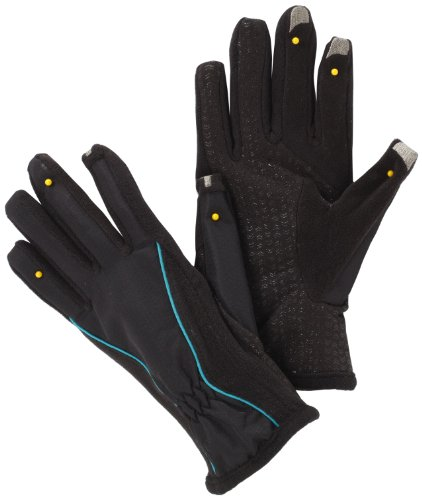 Isotoner Women's Smartouch Matrix Nylon Glove, Black/Baltic, Medium/Large (Touch Large Screen Overlay)