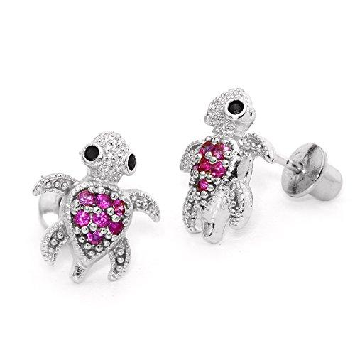 925 Sterling Silver Rhodium Plated Red Turtle Cubic Zirconia Screwback Baby Girls Earrings