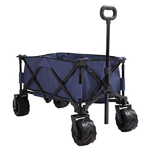 Patio Watcher Collapsible Folding Wagon Utility Wagon Cart Beach Wagon All Terrain Outdoor Garden Camping Wagon Sports Wagons Heavy Duty, Blue