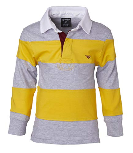 Sportoli Big Boys 100% Cotton Wide Striped Long Sleeve Polo Rugby Shirt - Mustard/Gray (Size 10) ()