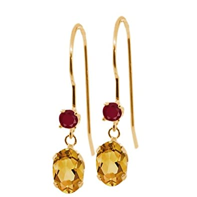Gem Stone King 1.04 Ct Oval Yellow Citrine Red Ruby 14K Yellow Gold Earrings