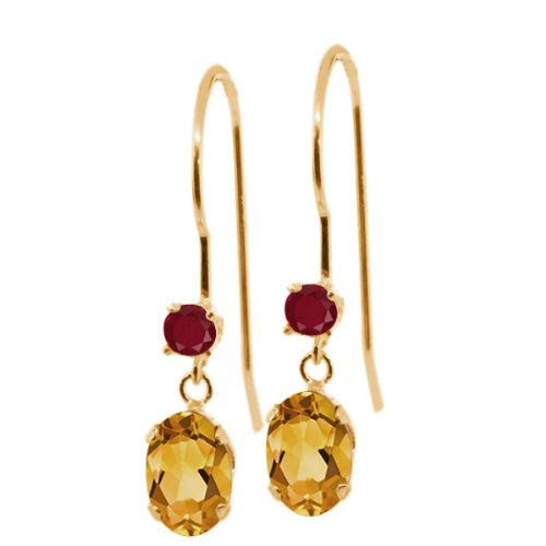 - 1.04 Ct Oval Yellow Citrine Red Ruby 14K Yellow Gold Earrings