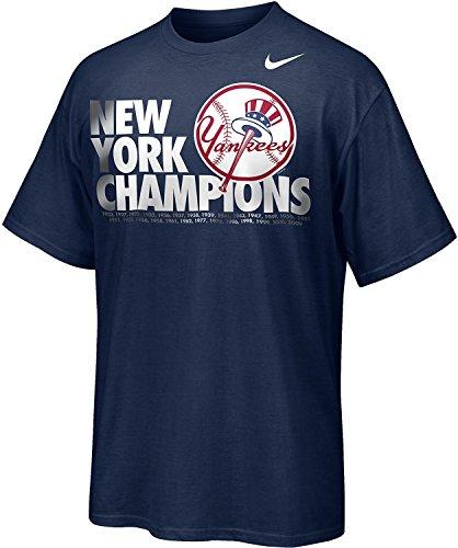 Mlb Nike Sleeve Shirt Short (Nike New York Yankees MLB Chrome Graphic Champions T-Shirt, Navy Blue (XL))