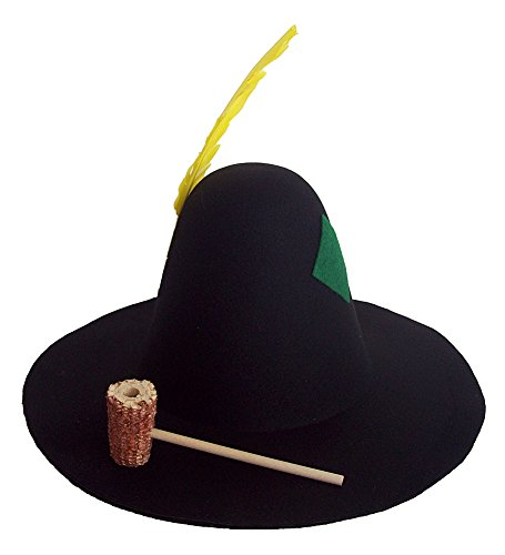 Adult Wool Felt Hillbilly Hobo Scarecrow Flat Brim Hat w/ Corncob Pipe & -