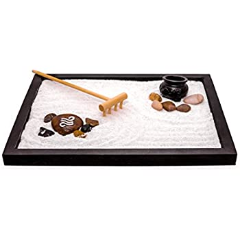 Zen Factory - Deluxe Zen Garden Kit - Best For Your Desktop, Home Or Office - Accessories Include: Wooden Base, Sand, 2 Rakes, Incense Pot & Assortment Of Rocks - Makes A Great Gift