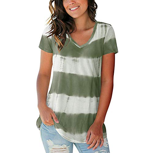 AgrinTol Women's Summer Tie-Dyed Print V Neck Summer Casual Short Sleeve T Shirts Tops (L, Green)