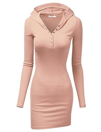 Doublju Womens Solid Knit 3/4 Sleeve Mini Dress INDIPINK,3XL