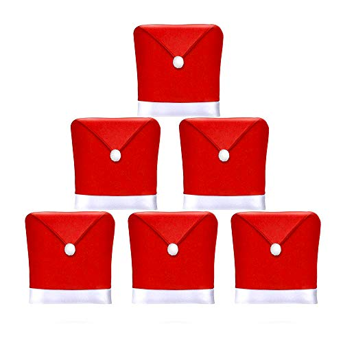 AMFOCUS Christmas Dining Chair Slipcovers Chair Back Covers Xmas Decoration, Santa Claus Hat Design, Set of 6 (Slipcovers For Dining Room Chairs With Rounded Backs)