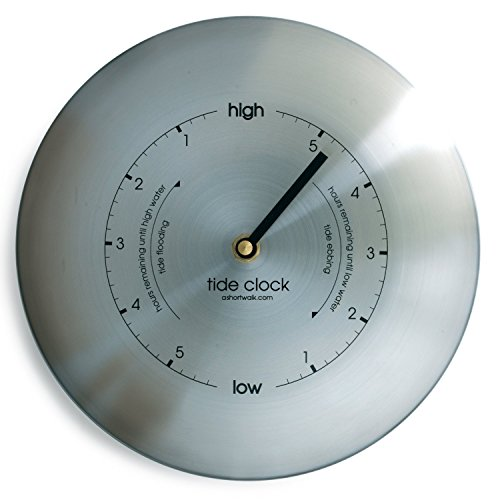 Round Stainless Steel Tide Clock - Brushed Stainless Steel