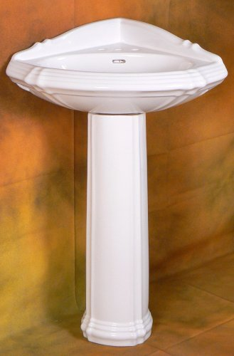 Fine Fixtures CORNER PEDESTAL SINK WHITE- RE1717W - NEW
