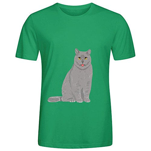 Grey Cat Egyptian Mau Cute Meme Mens Crew Neck Printed Tee Green (Blades Of Chaos For Sale)
