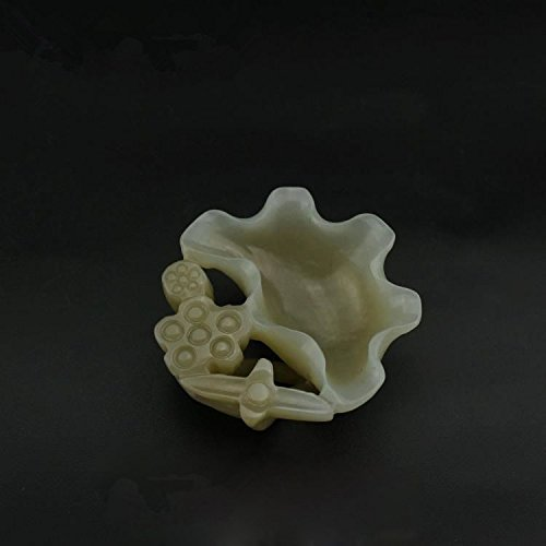 OLQMY Natural jade ashtrays, Xinjiang Hetian jade, white jade carved lotus leaf edge, wash incense burner, ashtray ornaments 5.01.8cm