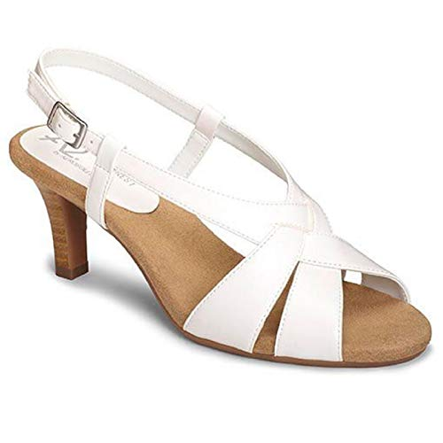 Aerosoles A2 Women's PASSCODE Heeled Sandal, White, 9 M US
