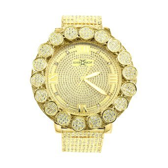 Mens Gold Finish Big Flower Bezel Real Diamond Khronos Joe Rodeo Diamond Watch
