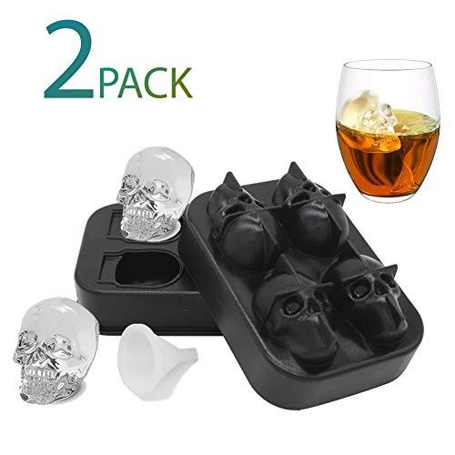 2 Pack Ice Cube Mold Trays, Makes 8 Medium Skulls, Skull Ice Cube Mold Tray with 2 Silicone Funnels, Flexible Silicone Ice Cube Maker for Juice, Whiskey Wine]()
