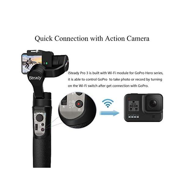 Hohem iSteady Pro 3 Action Camera Gimbal Stabilizzatore cardanico palmare Gimbal 3 assi IPX4 antispruzzo compatibile con GoPro Hero 8/7/6/5/4/3, DJI OSMO Action, Insta360 one R, SONY RX0 4 spesavip