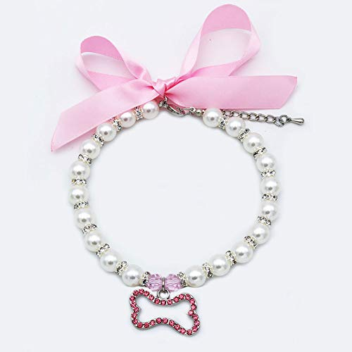 Beaded Dog Collar Charm - PetFavorites Pearl Crystal Dog Necklace Collar Jewelry for Small Dogs Puppy, Bling Cat Wedding Collar with Rhinestones Charm, Chihuahua Yorkie Clothes Outfits Accessories (Pink Bone, 12 to 14-Inch)